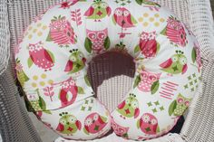 Girly Owls and Hot Pink Minky Boppy Cover. $30.00, via Etsy. @Courtney Phillips