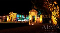 ALMA PROJECT @ Villa di Geggiano - bulbs lighting - garden - amber uplights - 223