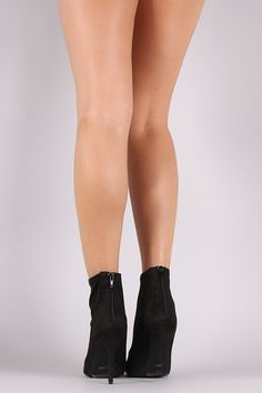 Anne Michelle Suede Peep Toe Stiletto Booties