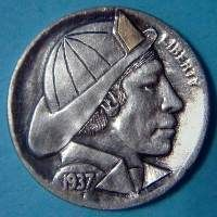 Ralph Perrico Hobo Nickel, Art Forms, Sculpture Art, Buffalo, Coins, Carving, Gold, Rooms, Wood Carvings