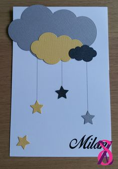 Faire-part de naissance fille thème nuage : Faire-part par hesionedesign New Baby Cards, Mothers Day Cards, Homemade Birthday Cards, Homemade Cards, File Decoration Ideas, Happy Birthday Hand Lettering, Scrapbook Cover, Quilled Paper Art, Birthday Gifts For Best Friend