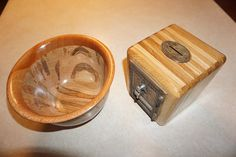 Hand turned ambrosia wood bowl and post office box coin bank.  Gifts for mom and dad.