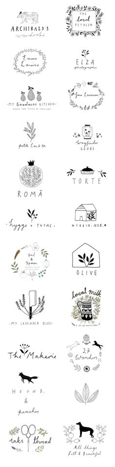 Logo designs by Ryn Frank http://www.rynfrank.co.uk hand written illustration