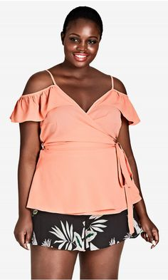 Shop Women's Plus Size Apricot Flirty Wrap Top | City Chic USA
