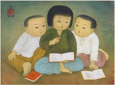 Children Reading Books (1964) by artist Mai Trung Thu #vietnam painting