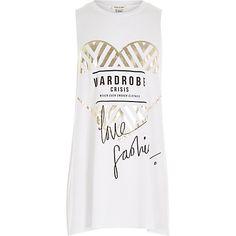 Girls white fashion print tank top £10.00