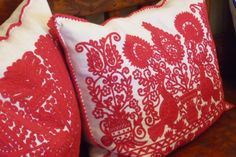Cushions in the Bela Bartok memorial House, Budapest Hungarian Embroidery, Folk Embroidery, Embroidery Patterns, Bela Bartok, Hungary, Budapest, Red Roses, Stitches, Cushions