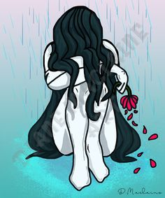 He Loves Me Not - Digital Art Download - PERSONAL USE - illustration of a crying upset girl sitting in a puddle in the rain. #anime #cartoon #cryinggirl #upset #breakup #helovesmenot #depressed #mentalhealth Crying Girl, He Loves Me, Depressed, Scrapbook Paper, Breakup, Diy Design, Lonely, Digital Scrapbooking, Digital Art