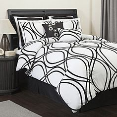 @Overstock - A flocked ribbon pattern lends flowing, elegant dimension to this 8-piece king-size comforter set from Lush Decor. Constructed of soft microfiber, this distinctive comforter set will lend dimension to any bedroom.http://www.overstock.com/Bedding-Bath/Lush-Decor-Dimension-White-Black-8-piece-King-size-Comforter-Set/6543500/product.html?CID=214117 $106.99