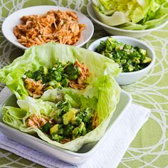 Slow Cooker Recipe for Spicy Shredded Chicken Lettuce Wrap Tacos (or Tostadas) with Avocado Salsa  from Kalyns Kitchen