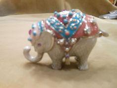 "JEWELED ELEPHANT COLLECTIBLE TRINKET BOX 2 3/4"" X 1 1/2"" BY MONET."