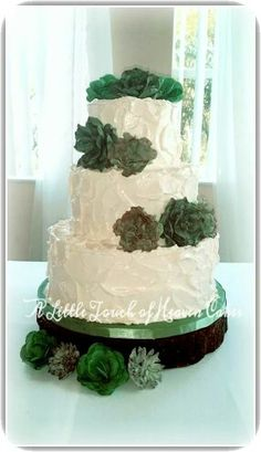 My latest rustic Swiss meringue buttercream wedding cake with fondant succulents.
