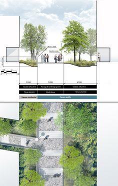 Landschaftsarchitektur - University of East London Landscape Diagram, Landscape Plans, Urban Landscape, Landscape Design, Architecture Graphics, Urban Architecture, Concept Architecture, Drawing Architecture, Landscape Architecture Section