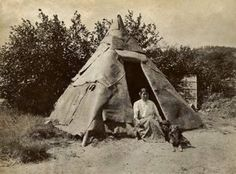 Penobscot woman with a traditional birch bark shelter in Maine - circa 1910 Genocide of the Native American people is real... teach the true history to our children!