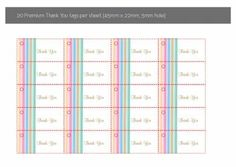 Stripes of Love Sheet of 20x Thank You Tags in Gold Fusion - DreamDay Invitations