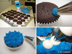 Cookie Monster Cupcakes November Cookie Monster's Birthday Admit it! We are all kids at heart and have a little cookie (or dessert) monster inside of us. Monster 1st Birthdays, Monster Birthday Parties, Elmo Birthday, Birthday Cookies, Birthday Ideas, Cookie Monster Cupcakes, Elmo Cookies, Elmo And Cookie Monster, Cake Cookies