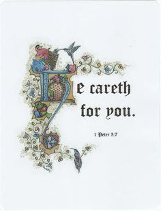 He Careth for You - Illuminated Calligraphy Laminated Print - Small