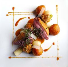 MOD 3060 Food Presentation: Gressingham duck , roasted breast and pan fried liver, Plum sauce, Leeks, Turnips and Dauphine potatoes. Duck Recipes, Gourmet Recipes, Gourmet Desserts, Plated Desserts, Gourmet Food Plating, Fancy Desserts, Gourmet Foods, Healthy Recipes, Food Design