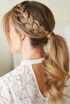 25 Gorgeous Wedding Hairstyles for Long Hair wedding hair style trends southernliving 242842604893382611 Long Hair Wedding Styles, Wedding Hairstyles For Long Hair, Braids For Long Hair, French Braid Hairstyles, Box Braids Hairstyles, Pretty Hairstyles, French Braid Ponytail, Short Hairstyles, Twisted Ponytail
