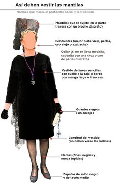 Recommendations for how to dress properly for the processions of Semana Santa Mantilla Semana Santa, Spanish Veil, Spanish Costume, Flamenco Costume, Church Outfits, Church Clothes, Spanish Style, Spanish Art, Lace Design