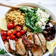 Balsamic Chicken and Lemon Quinoa.