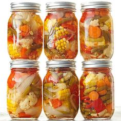 Garlicky Pickled Mixed Veggies. These pickled veggies are bright and flavorful. Subtle heat from crushed red pepper, sweet-tangy flavor from the brine, and a good dose of garlic give your favorite summer veggies tremendous flavor. And just look how pretty they are -- like a farmer's market in a jar.