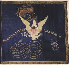 Flag of the Indiana volunteers Civil War Flags, Civil War Art, Military Art, Military History, Military Flags, American Civil War, American History, Flags Of Our Fathers, Civil War Photos