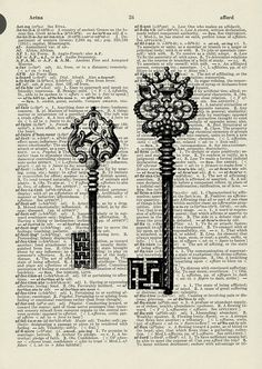 vintage 1950s etched-style skeleton keys printed on page from old dictionary