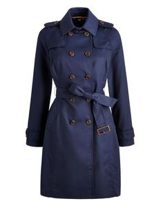Joules 123665 Womens Mac Coat Trench Coat with Belt - Cotton in Marine Navy