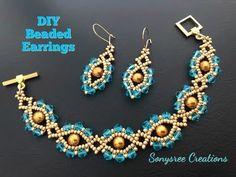 beaded earrings making Beaded Bracelets Tutorial, Earring Tutorial, Seed Bead Bracelets, Beads Tutorial, Silver Bracelets, Stackable Bracelets, Seed Beads, Jewelry Bracelets, Beaded Earrings Patterns
