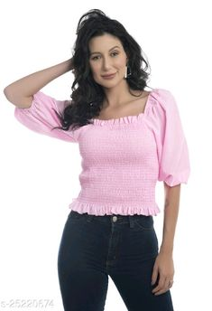 Travel Clothes Women, Latest Tops, Crepe Fabric, Off Shoulder Tops, Western Wear, Pink Tops, Tunic Tops, India, Short Sleeves