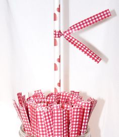 30 Gingham RED CHECK Twist Ties  Drink Flags by LolaLovesAparty