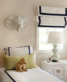 Nursery Notations: Sophisticated Jungle-Inspired Toddler Room by Liz Carroll Interiors Window Coverings, Window Treatments, Outside Mount Roman Shades, Cornice Box, Box Valance, White Valance, Cornice Boards, Linen Roman Shades, Big Girl Rooms