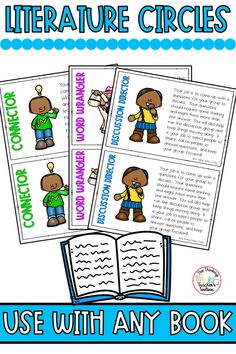 These literature circles are perfect for elementary students to use with any book!  Read, discuss, make connections, and ask and answer questions.  This resource contains 5 different literature circle roles and recording sheets for each role.  Perfect for elementary school, distance learning, home school, or reading intervention.