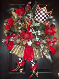 """Christmas Wreath-""""Queen of Hearts""""-Christmas Wreath-Petals & Plumes-Hat n' Boots Collection © 2010"""