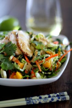 Thai Chopped Chicken Salad with Kale and spicy Peanut Dressing