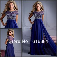 2014 New Style Custom Size Short Sleeve Jewel Beaded Dark Blue Chiffon A-Line Prom Gowns Long Evening Dresses