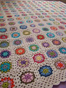 crochet blanket color inspiration...love the white filler and bright matching colors (not a rainbow effect, though)
