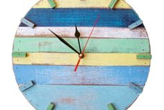 Colors without dark blue and yellow Kitchen under bar  Rustic reclaimed wood clock.