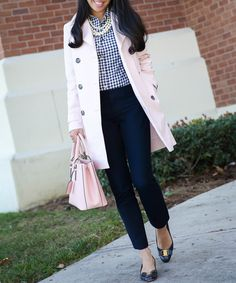 Classic spring work outfit - navy sloan pants gingham shirt work outfit navy bow pumps