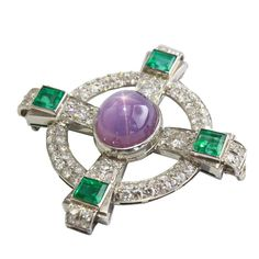 1930s Star Sapphire Emerald Diamond Platinum Celtic Cross Brooch