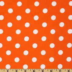 Happy Halloween Polka Dots Orange/White from @fabricdotcom  This cotton print fabric is perfect for quilts, home decor accents, craft projects and apparel.  Colors include orange and white.