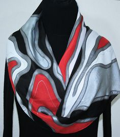 Hand Painted Silk Scarf. Silver Gray Red Black & White
