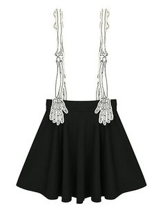 Black Contrast Skeleton Hand Shoulder Strap Pleat Overall Skirt | Choies