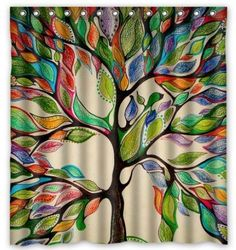 "tree of life Gorgeous Like Leather Polyester waterproof Shower Curtain 66"" x 72"""
