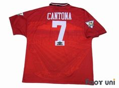 """""""Manchester United 1994-1996 Home #7 Cantona""""   Vintage Soccer Jerseys Footuni online shop. 「Manchester United 1994-1996 Home #7 Cantona Premier league champions patch UMBRO Premier League」page. Products offered are abundant according to an age in a classic football shirts. It is introduction at simple and convenient prices, such as an age, player supplies, etc. of a Soccer Jerseys with acquisition difficult in others."""