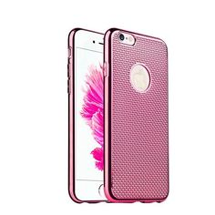Flexible Soft Silicone Case For Iphone6 4.7 Bling Weave Grid Pattern Original Rose Gold Cover For Iphone 6S Metal Brush Circle