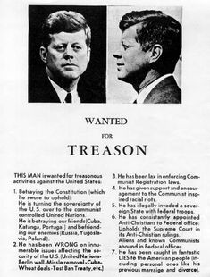 Handbill circulated on November 21, 1963, one day before the assassination of John F. Kennedy