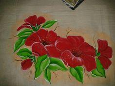 flores pintura en tela