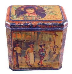 British biscuit tin, maker unknown c1900 Metal Containers, Vintage Tins, Tin Toys, Tin Signs, Metal Tins, Metal Art, Decorative Boxes, Old Things, Antiques